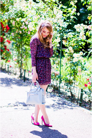 deep purple Bershka dress - light blue Zara bag - hot pink Bershka heels