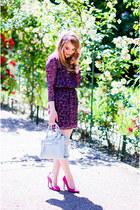 deep purple Bershka dress - light blue Zara bag - hot pink Bershka heels