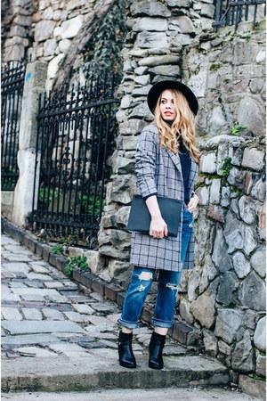 black CCC boots - black Sheinside coat - navy F&F jeans - black Primark hat