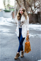 white Vero Moda blazer - tan fullah sugah boots - navy jeans
