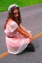 pink vintage dress - white vintage dress - brown vintage purse - blue vintage ha