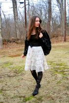 black vintage top - white Ross skirt - black Dollar Tree tights - black thrifted