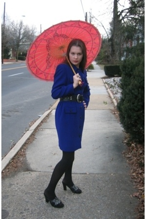 Salvation Army coat - thrifted shoes - Salvation Army belt - Dollar Tree tights