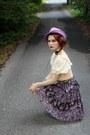 Amethyst-vintage-hat-cream-vintage-top-gold-vintage-belt