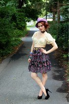 amethyst floral vintage skirt - amethyst vintage hat - cream vintage top
