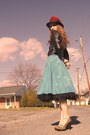 sky blue Miss Ruths Time Bomb skirt - black talbots skirt - black vintage jacket