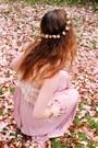 Light-pink-maxi-vintage-dress-off-white-vintage-necklace-light-orange-rhines