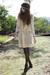 Beige-dress-brown-hat-white-scarf-white-hat-purple-dress