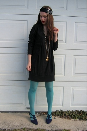 Bon Ton dress - blazer - kohls tights - Styles Boutique shoes - necklace - hat