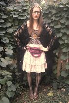 pink vintage skirt - black vintage jacket - brown vintage top - brown thrifted s