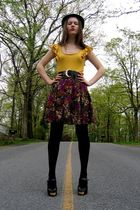purple vintage skirt - gold Old Navy top - black Wal Mart tights - black Ross sh