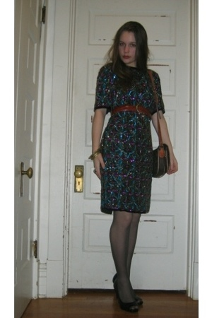 thrifted dress - thrifted belt - Thrifted Louis Vuitton purse - Thrifted Jessica