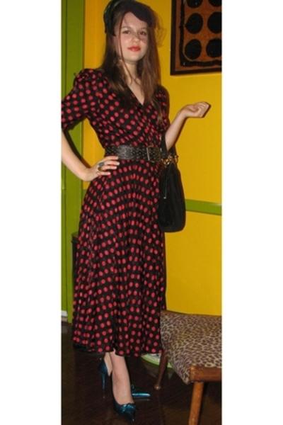 thrifted dress - TJMaxx dollhouse shoes - Miss Ruths Time Bomb purse - moms hat