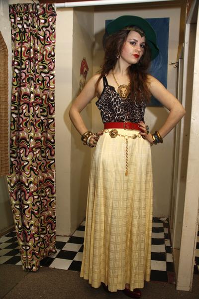 chartreuse vintage hat - yellow vintage skirt - red vintage belt - dark brown le