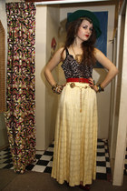 chartreuse vintage hat - yellow vintage skirt - red vintage belt - dark brown le