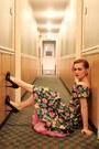 Bronze-vintage-earrings-bubble-gum-floral-miss-ruths-time-bomb-dress