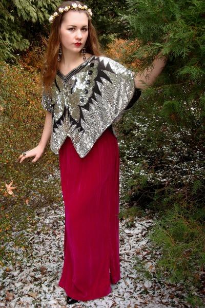 hot pink vintage skirt - silver vintage top - black Forever21 heels - bronze For