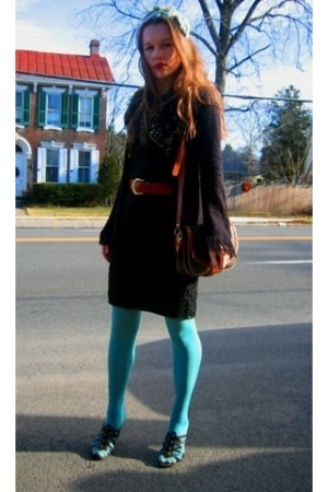 Salvation Army dress - Yardsale jacket - thrifted shoes - KOHLES tights - Fairey