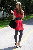 red vintage dress - gray papaya leggings - black Jessica Simpson shoes - black M