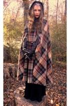 brick red vintage coat - black Target gloves - silver vintage accessories - blac