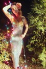 black striped Forever21 dress - pink hair flower Miss Ruths Time Bomb hat - blac