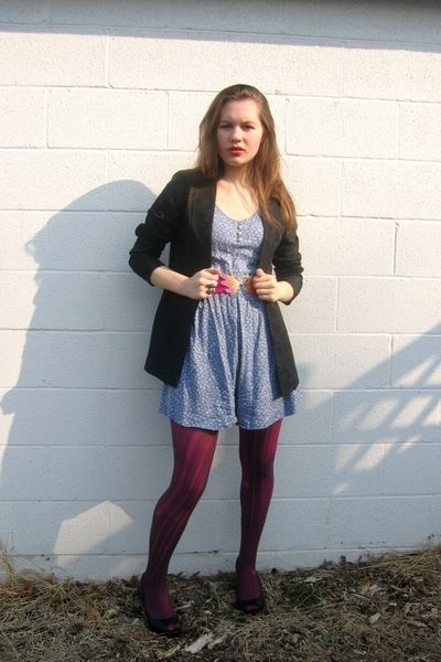 Salvation Army dress - blazer - belt - Target tights - Jessica Simpson shoes