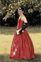 red Gunne Sax vintage dress - black vintage gloves - silver vintage - black Self