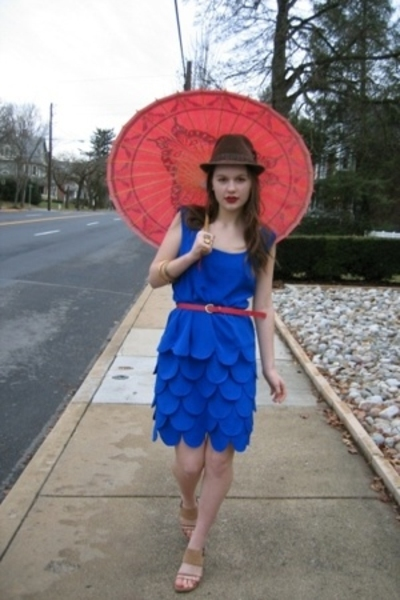 blue Salvation Army dress - beige Nine West shoes - brown Fairey Godmothers hat