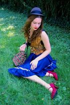 blue vintage skirt - gold vintage vest - red vintage shoes - red vintage miss ru
