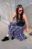 purple vintage dress - black vintage boots - brown vintage - pink vintage glasse