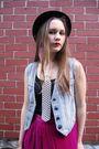 Pink-vintage-skirt-blue-vintage-vest-brown-vintage-brown-vintage-hat-whi
