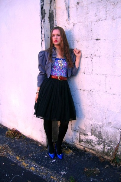 top - skirt - jacket - shoes - necklace - belt