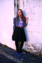 top - skirt - jacket - shoes - necklace - belt