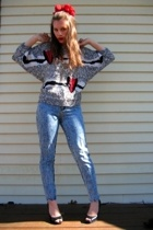 Salvation Army sweater - Salvation Army jeans - Jessica Simpson shoes - hat - ne