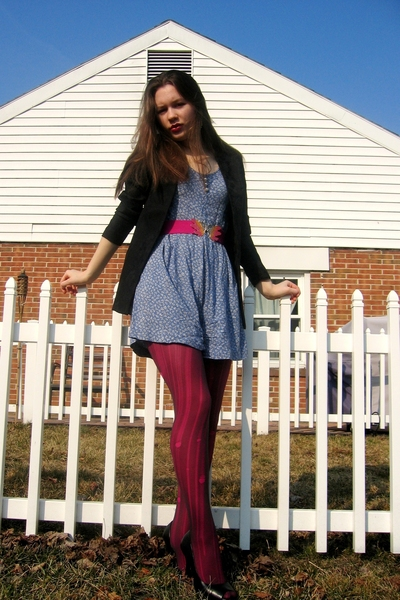 Salvation Army dress - Target tights - belt - blazer - Jessica Simpson shoes