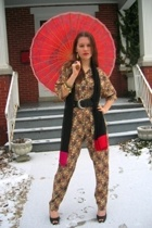 Salvation Army pantsuit dress - rummage sale scarf - Thrifted Jessica Simpson sh