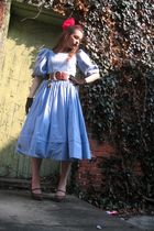 blue laura ashely dress - brown vintage shoes - black gloves - brown vintage bel