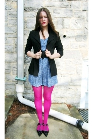 Salvation Army blazer - Salvation Army dress - Target tights - belt - Larrys Tra
