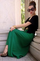 green vintage skirt - black Target top - camel rugged warehouse shoes - gold vin