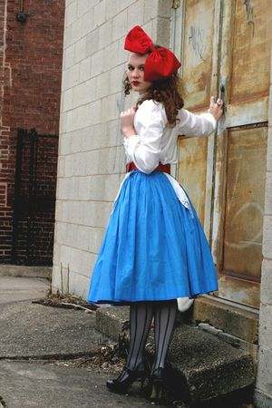 red vintage hat - black Ross shoes - blue vintage skirt - white thrifted top