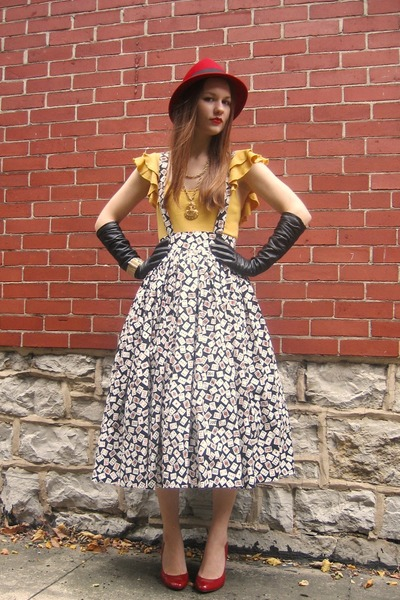 yellow Old Navy top - white self-made skirt - red thrifted shoes - black Target