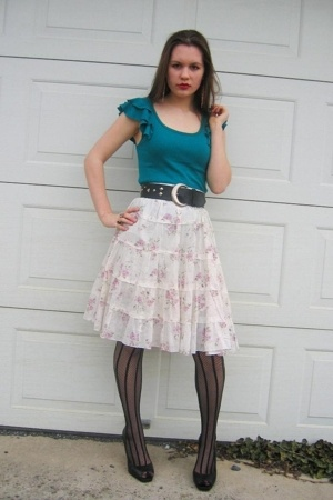 Ross skirt - Old Navy top - Salvation Army belt - No Bounderies tights - Jessica