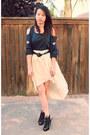 Gray-pinkbullet-blouse-eggshell-pinkbullet-skirt-black-steve-madden-heels