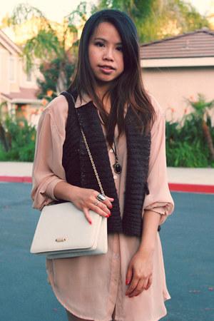 vintage purse - pinkbullet store vest - American Apparel blouse - vintage neckla