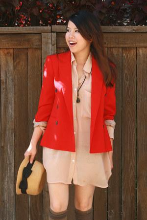 bronze pinkbullet store hat - red Zara blazer - nude American Apparel blouse - b