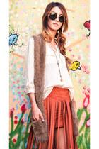 tawny fringed short pinkclubwear shorts - white button down pinkclubwear blouse