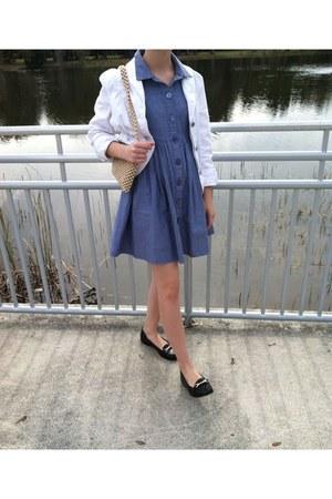 sky blue thrifted dress - white Gap jacket - eggshell beaded vintage bag