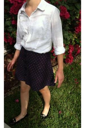 white plaid Target blouse - navy DIY skirt - brown Payless flats