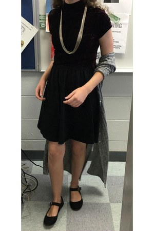 black unknown shoes - black thrifted dress - crimson Forever 21 shirt