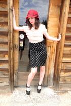 red Target hat - black polka dot H&M skirt